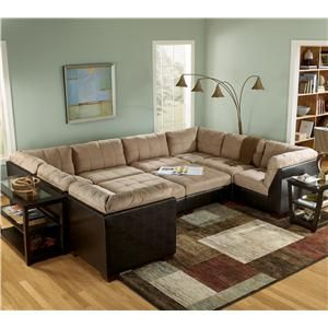 Gable Mocha Sectional Sofa Group with Ottomans and Faux Leather by