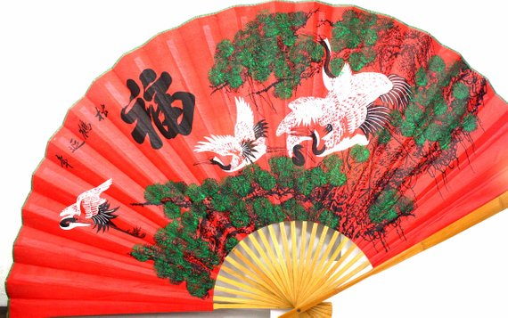 Asian Fan Wall Decor Large Vintage Red And Green Fabric Chinese Wall Hanging Fan Wall Fans Green Fabric Chinese Wall
