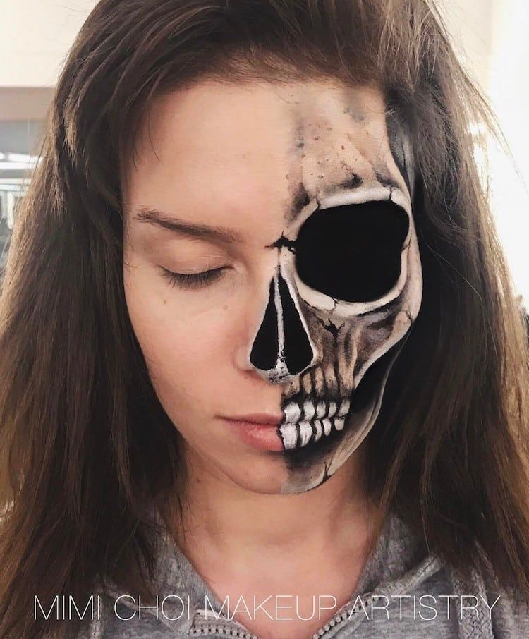 Former Teacher Uses Mind Bending Makeup Illusions To Split People Into Pieces Amazing Halloween Makeup Optical Illusions Body Painting
