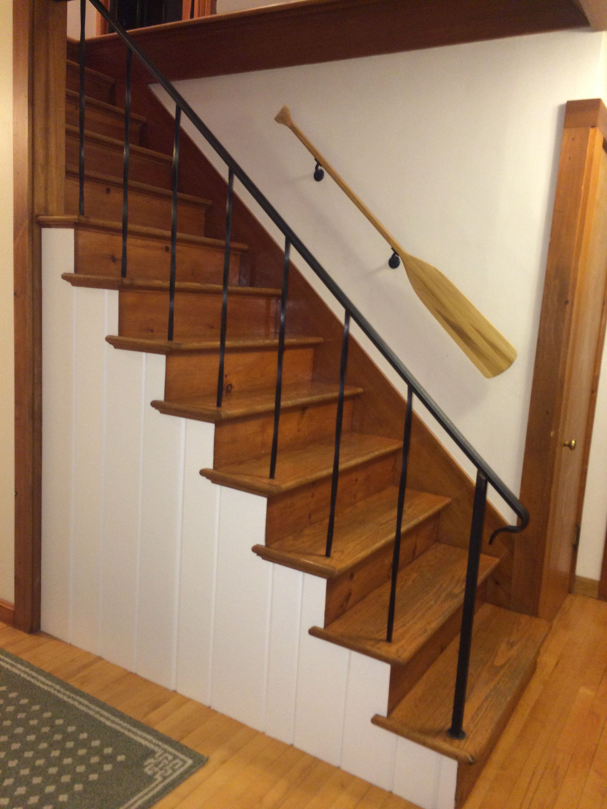 Best Knotty Pine Painted With Oar Railing Attached House 400 x 300