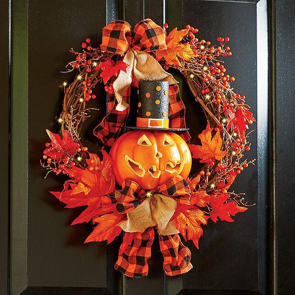 Improvements Lighted Jack-o-Lantern Halloween Wreath (675615 IDR - halloween lighted decorations