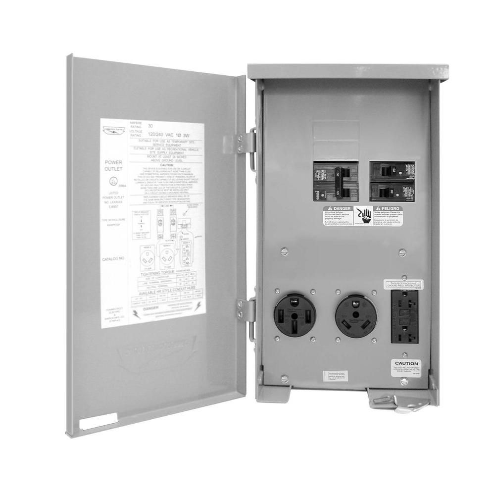medium resolution of 80 amp rv panel outlet with 50 amp and 30 amp receptacles breakers and gfci duplex