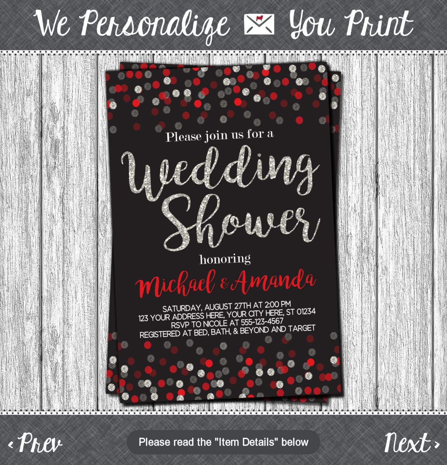 Confetti Wedding Shower Invitation Black Red and Silver Any