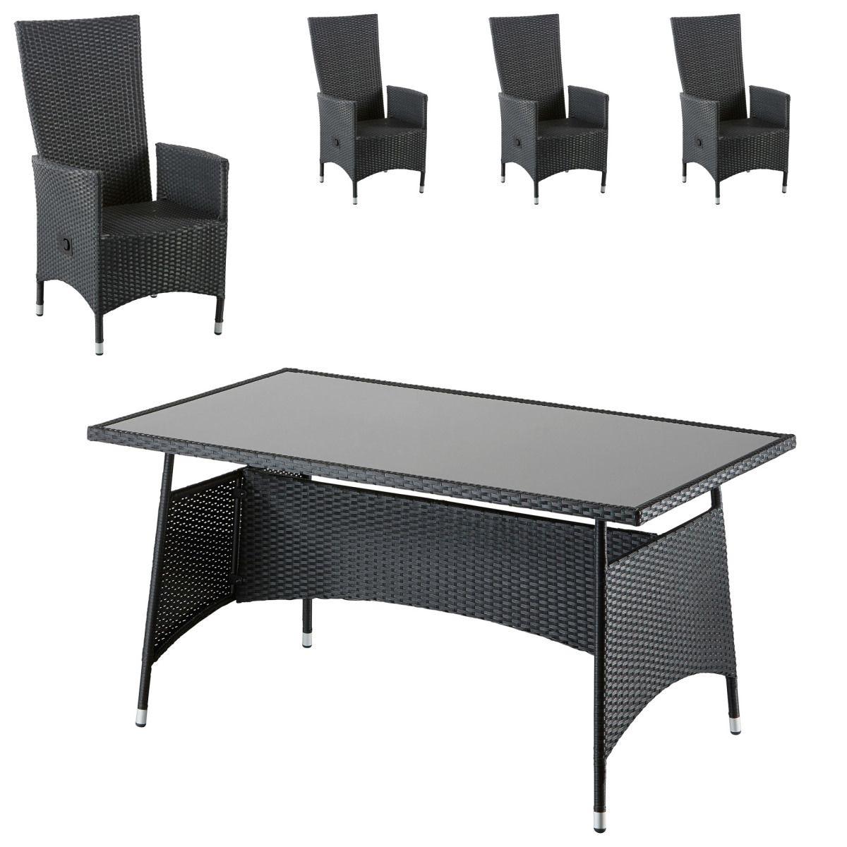 Gartenmöbel-Set Palermo/Rio Grande (90x150, 4 Komfortsessel, schwarz ...