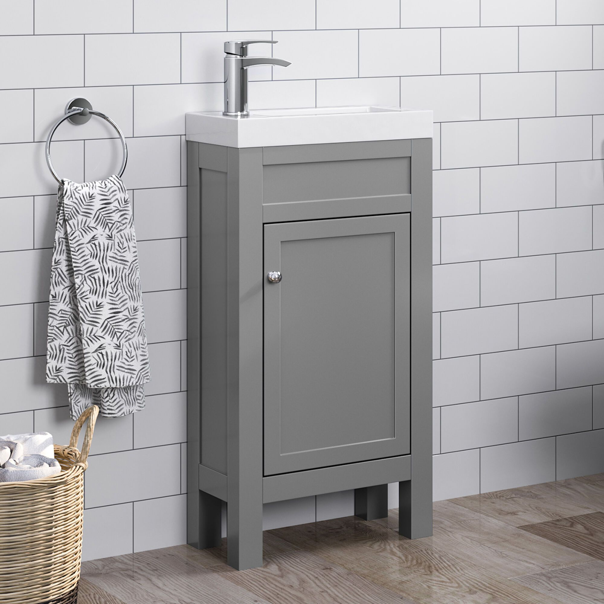 Grey Slimline Sink Vanity Unit Small Bathroom Storage Soak Com Vanity Units Sink Vanity Unit Small Bathroom Storage
