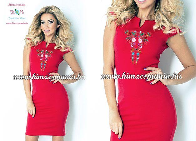 b6e57fb8b5 Piros kalocsai mintás elegáns női ruha Limitált széria! ▷ http://himzesmania