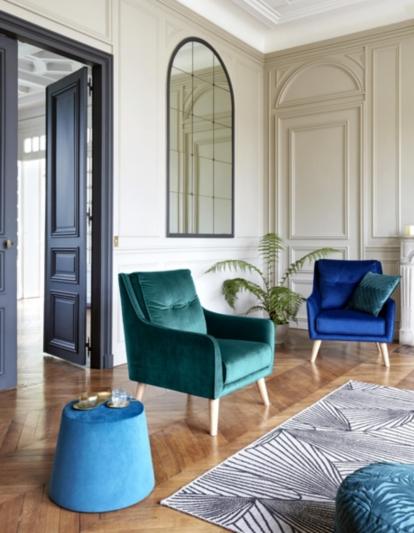Fauteuil Lauranne Tissu Bleu Vert Decoration Interieure Tendance Decoration Appartement Fauteuil But