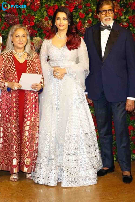 Jaya Bachan Aishwarya Rai And Amithab Bachan At Deepveer Reception Deepveer Aishwaryaraibachan Aishwarya Rai Long Sleeve Dress Bridesmaid Dresses