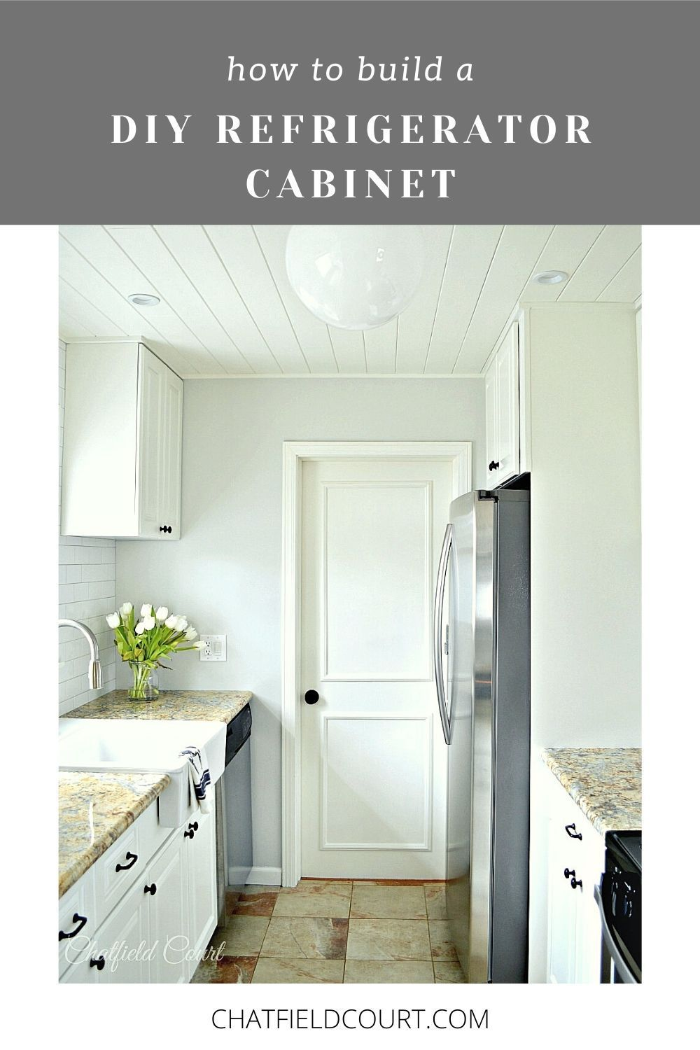 How to build a DIY refrigerator cabinet on a budget with $2 cabinet doors found at Goodwill. Give your refrigerator a custom designer look and add more kitchen storage.
