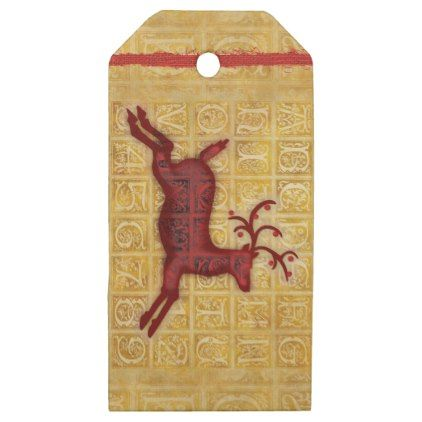 Flying Reindeer Personalized Wooden Gift Tags