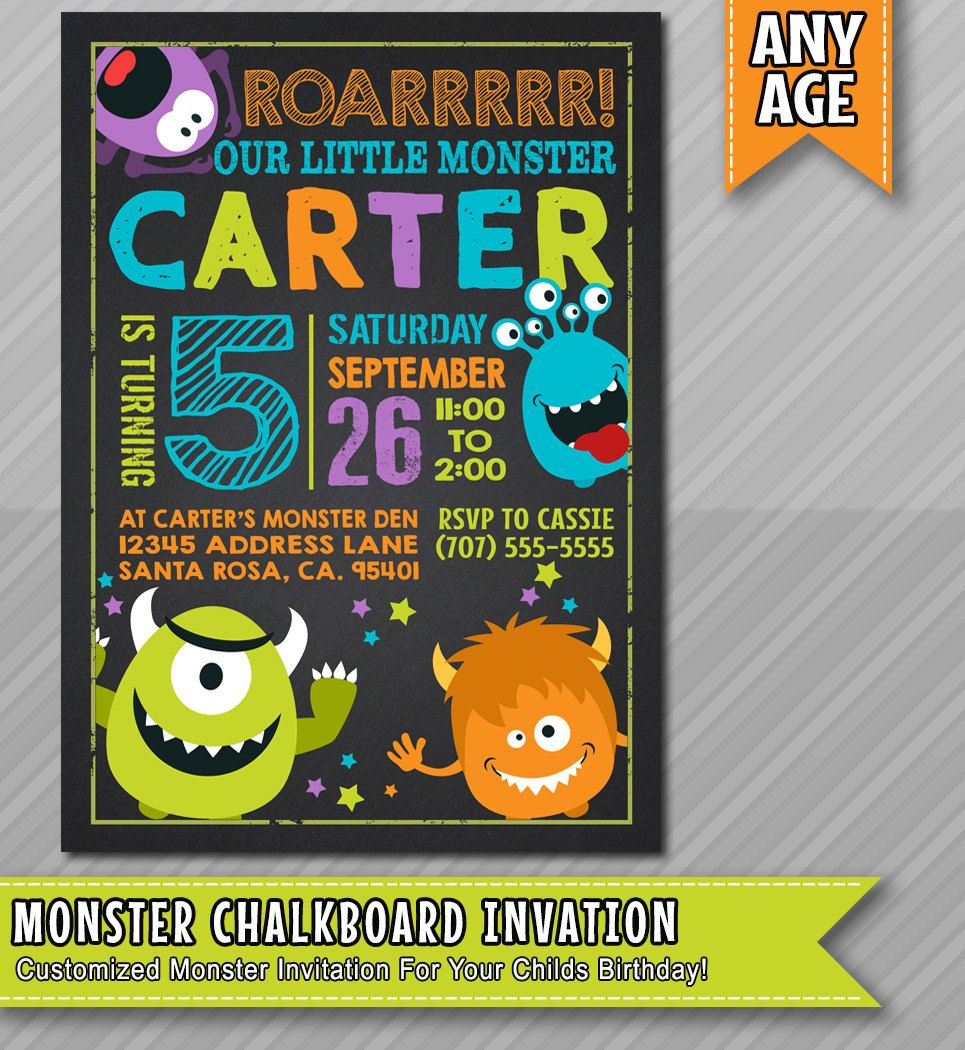 Little monster birthday invitation, Monster invite ,Monster party ...