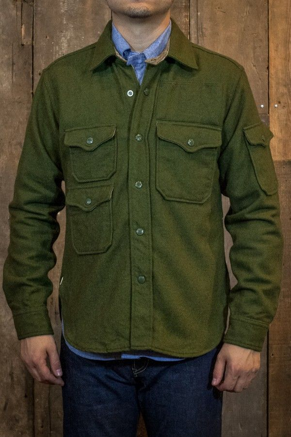 1f5fb5a8e33 Engineered Garments CPO Shirt Jacket Olive Wool Flannel - Made in New York