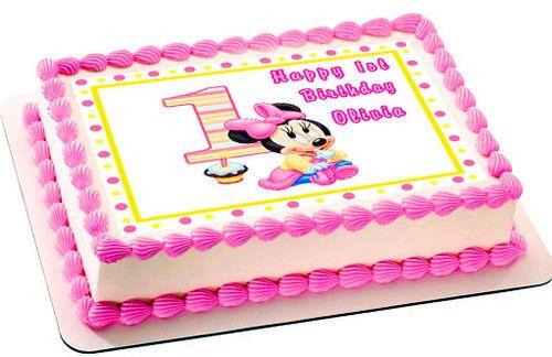 Astounding Baby Minnie Mouse 1St Birthday Edible Cake Topper Cupcake Funny Birthday Cards Online Necthendildamsfinfo