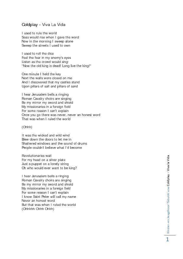Lyric coldplay viva la vida lyrics : Coldplay - Viva La Vida | Coldplay | Pinterest | Coldplay, Songs ...