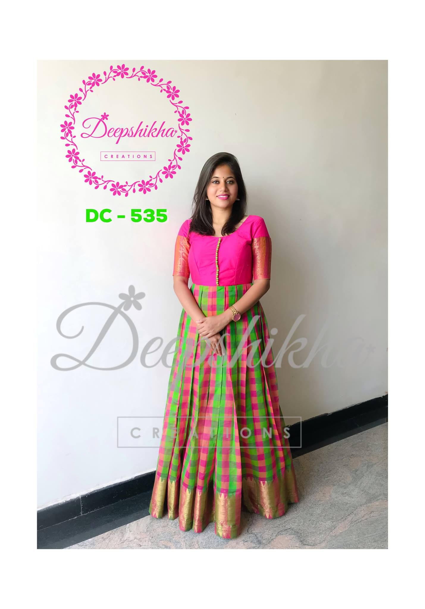 3d149c90320 Beautiful parrot green and pink color combination floor length anarkali  dress.For queries kindly WhatsApp   +91 9059683293 31 May 2018