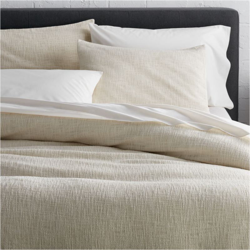 Lindstrom ivory full queen duvet cover crate and barrel for Crate barrel comforter