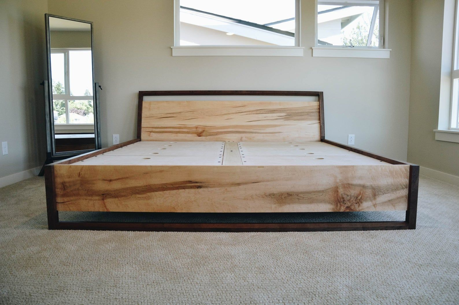 Modern Maple & Walnut Platform Bed with Storage Bed with