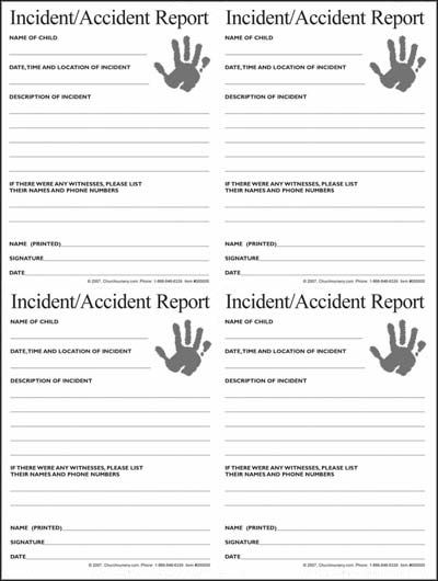 Nursery IncidentAccident Form   Church Related