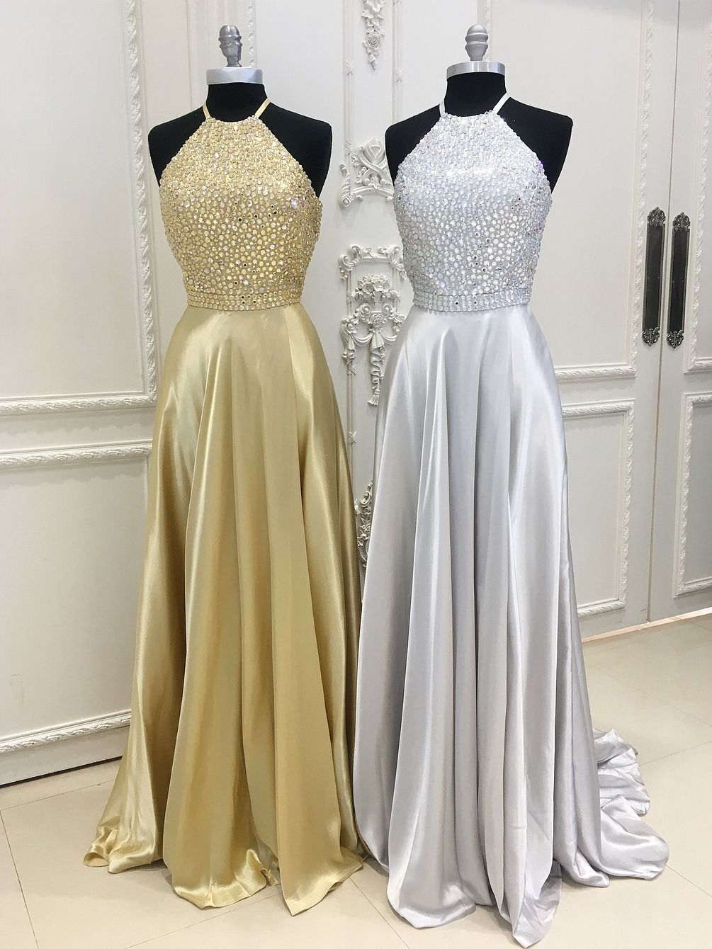 Sparkly halter long prom dress graduation dress long prom