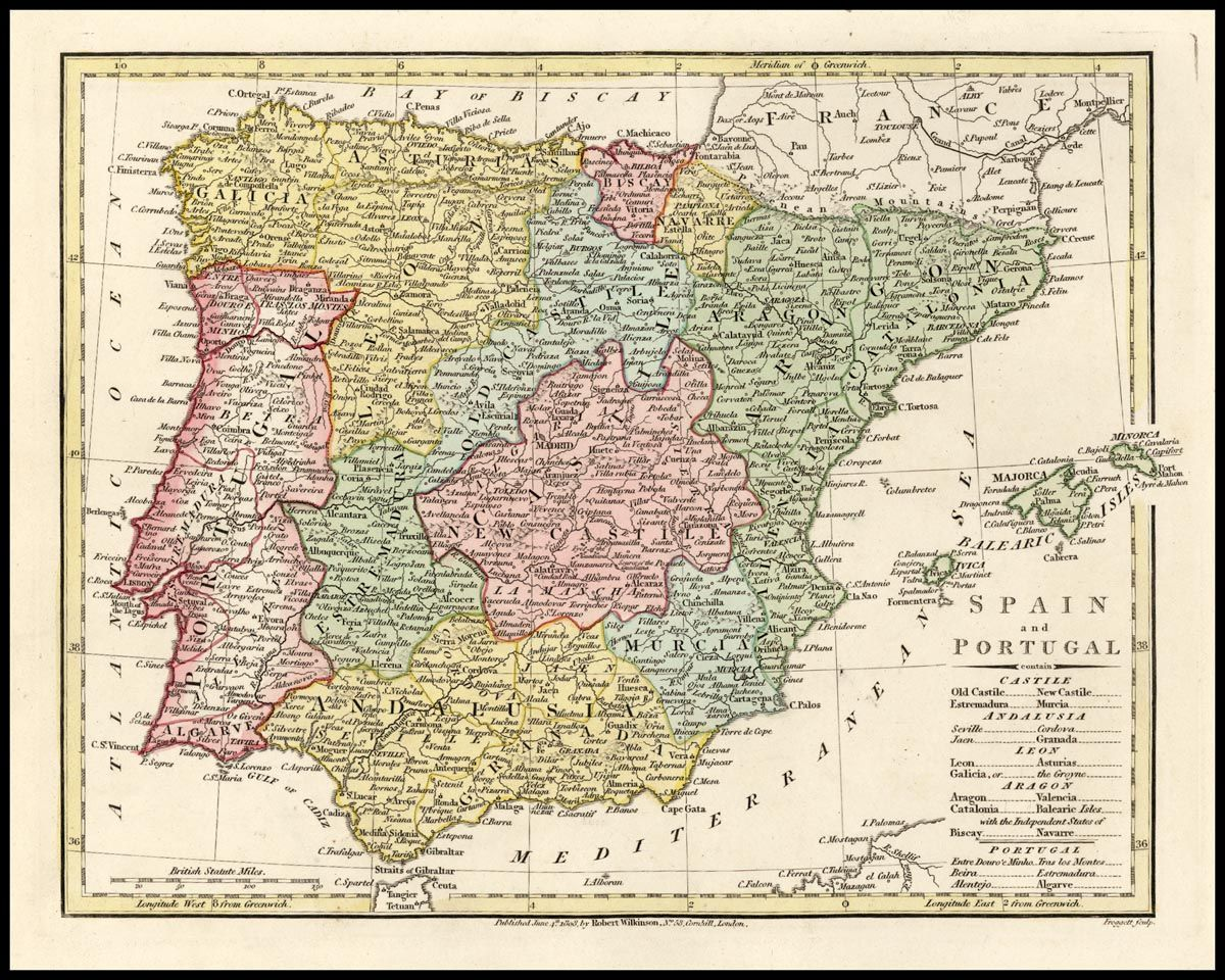Detailed Map Of Spain España Portugal And The Balearic Islands - Robert wilkinson map of the us