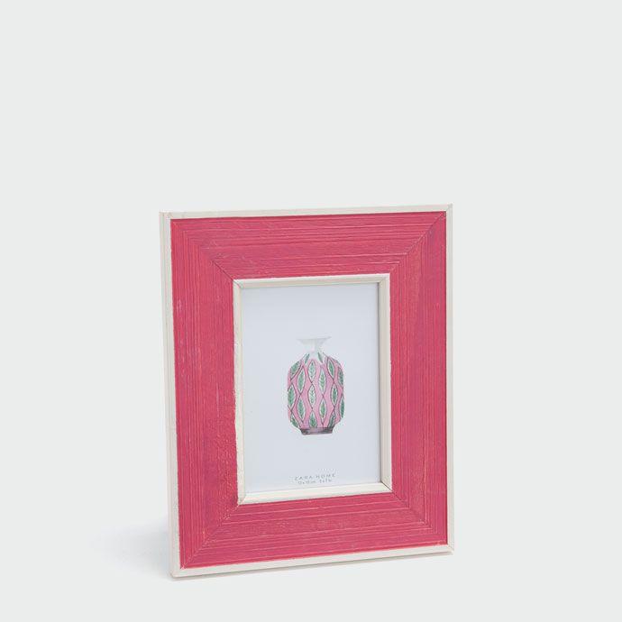 Imagen del producto Marco madera rosa y blanco