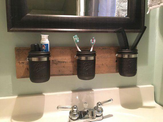 Bauernhaus Einmachglas Organizer - rustikale Einmachglas Badezimmer Organizer - Einmachglas B... #masonjarbathroom