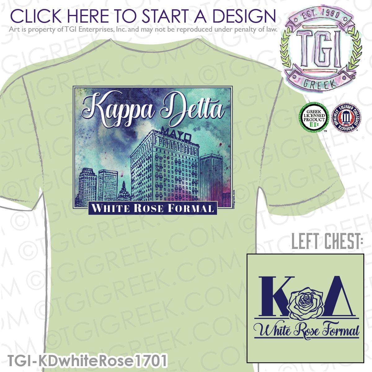 T shirt printing at white rose - Kappa Delta White Rose Formal Sorority Formal Shirt Formal Tee