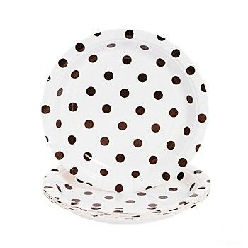 """Chocolate Brown Polka Dot 7"""" Paper Dessert Plate 