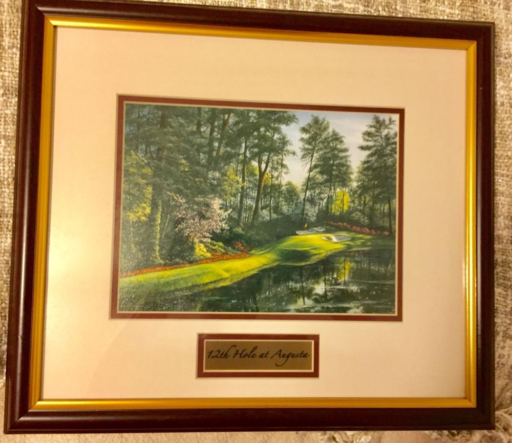 12th Hole Augusta National Framed Matted Signed Golf Photograph Print 17 X15 Ebay Frame Matting Frame Landscape Prints