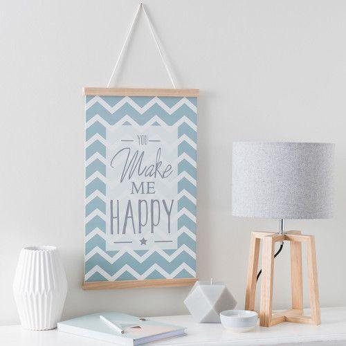 Wanddekoration MAKE ME HAPPY japanisches Rollbild aus Holz, 30 x 52 cm, blau