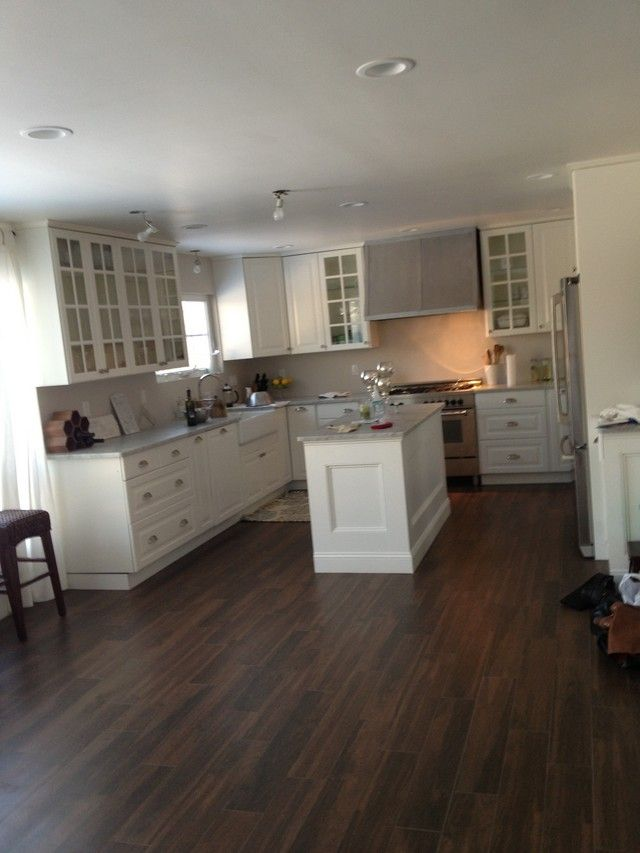 Tile floors that look like wood like dislike for Dark tile kitchen floor