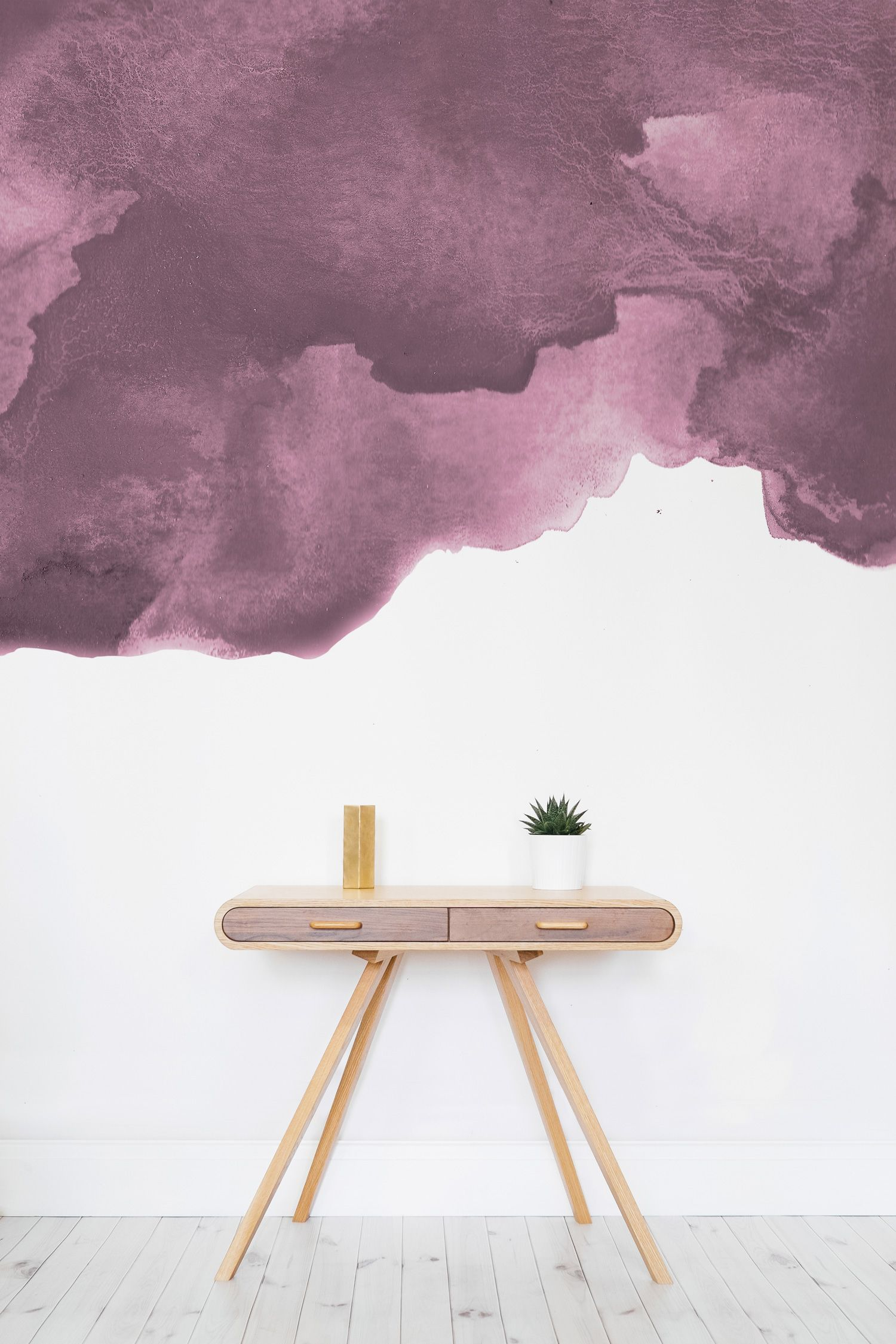 Dusty pink watercolor wall mural wallpaper layers for Dusty pink wall