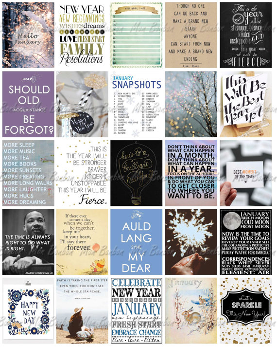 January Monthly Quotes Printable Sticker Sheet January Life