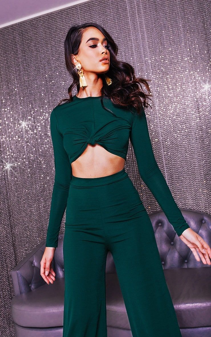 5ed76953911 Emerald Green Slinky Knot Front Long Sleeve Crop TopThis crop top is an  essential for your weeken.