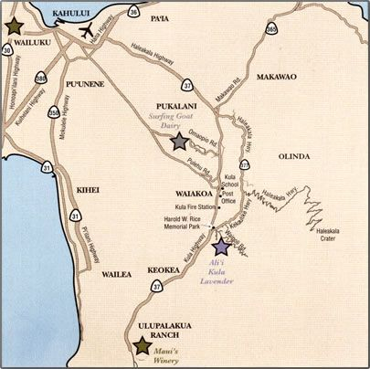 Map of Upcountry Maui agritourism including Surfing Goat Dairy