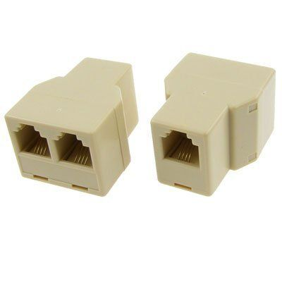 RJ11 1 to 2 Female Plug Telephone Modular Splitter Jointer