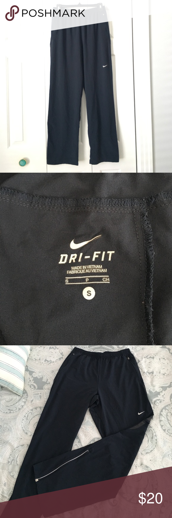 Men's Navy blue Nike Dri-Fit work out pants Great condition. Lightweight and very comfy. Zippered sides. Nike Pants Sweatpants & Joggers
