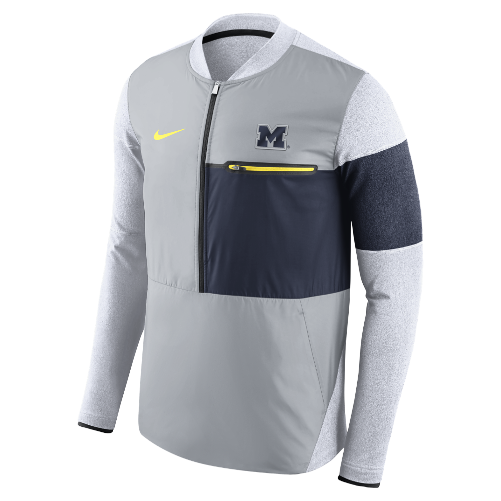 67046213508f Nike College Shield Hybrid (Michigan) Men s Half-Zip Jacket Size Medium  (Grey)