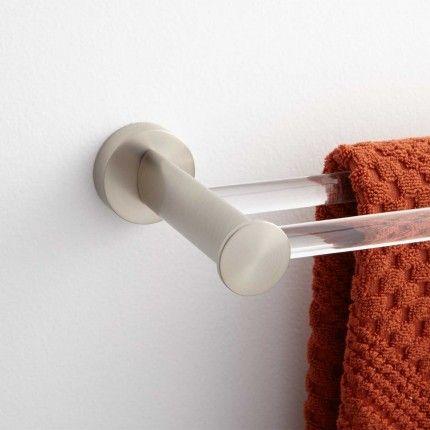Prague Acrylic Double Towel Bar - Brushed Nickel bathroom
