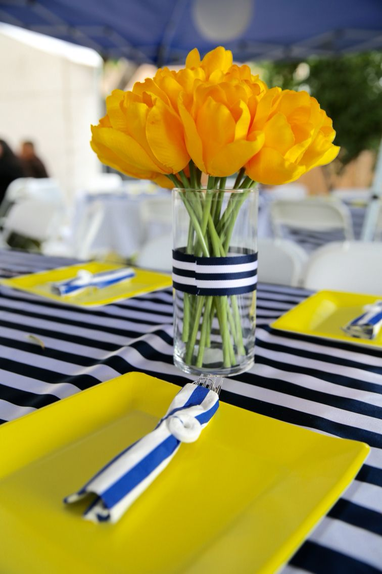 Centerpieces Nautical Baby Girl Shower Yellow Navy Blue And