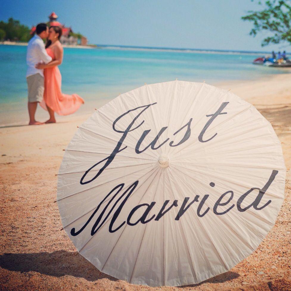 Just Married Parasol Beach Wedding Jamaica Photo Prop