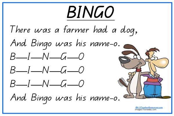 Bingo Song And Print A4 Sheet Charts For Music Rhythm Rhyme Nursery Rhymes Lyricsnursery Songspet