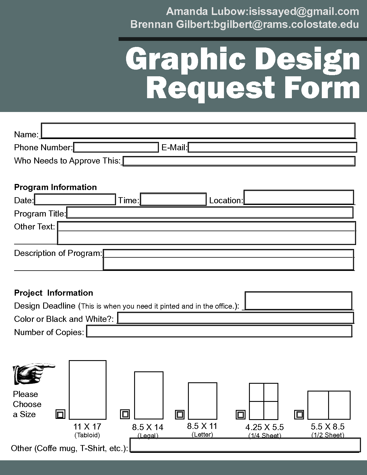 Graphic Design Request Form Template  Design Briefs