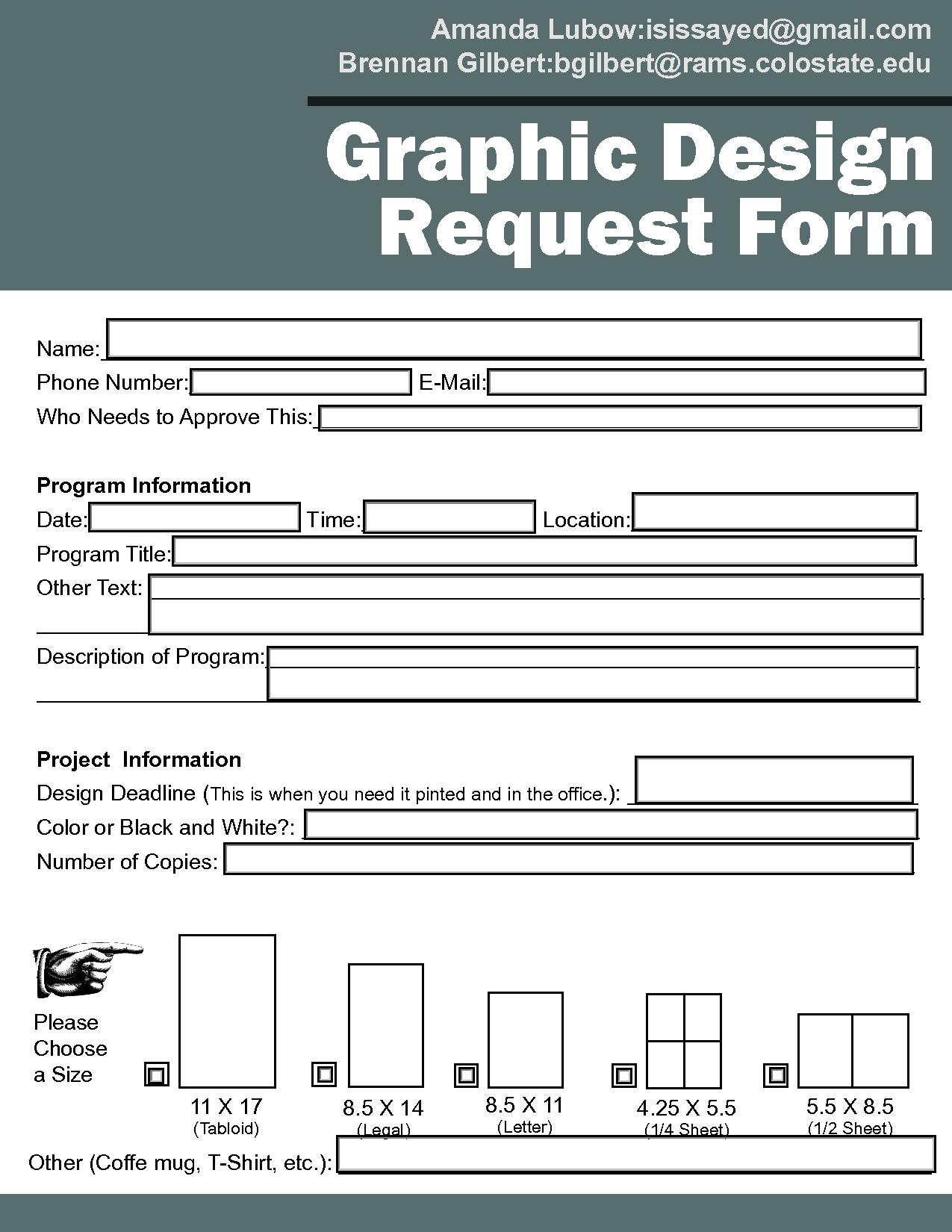 Graphic Design Request Form Template | Design Briefs | Pinterest