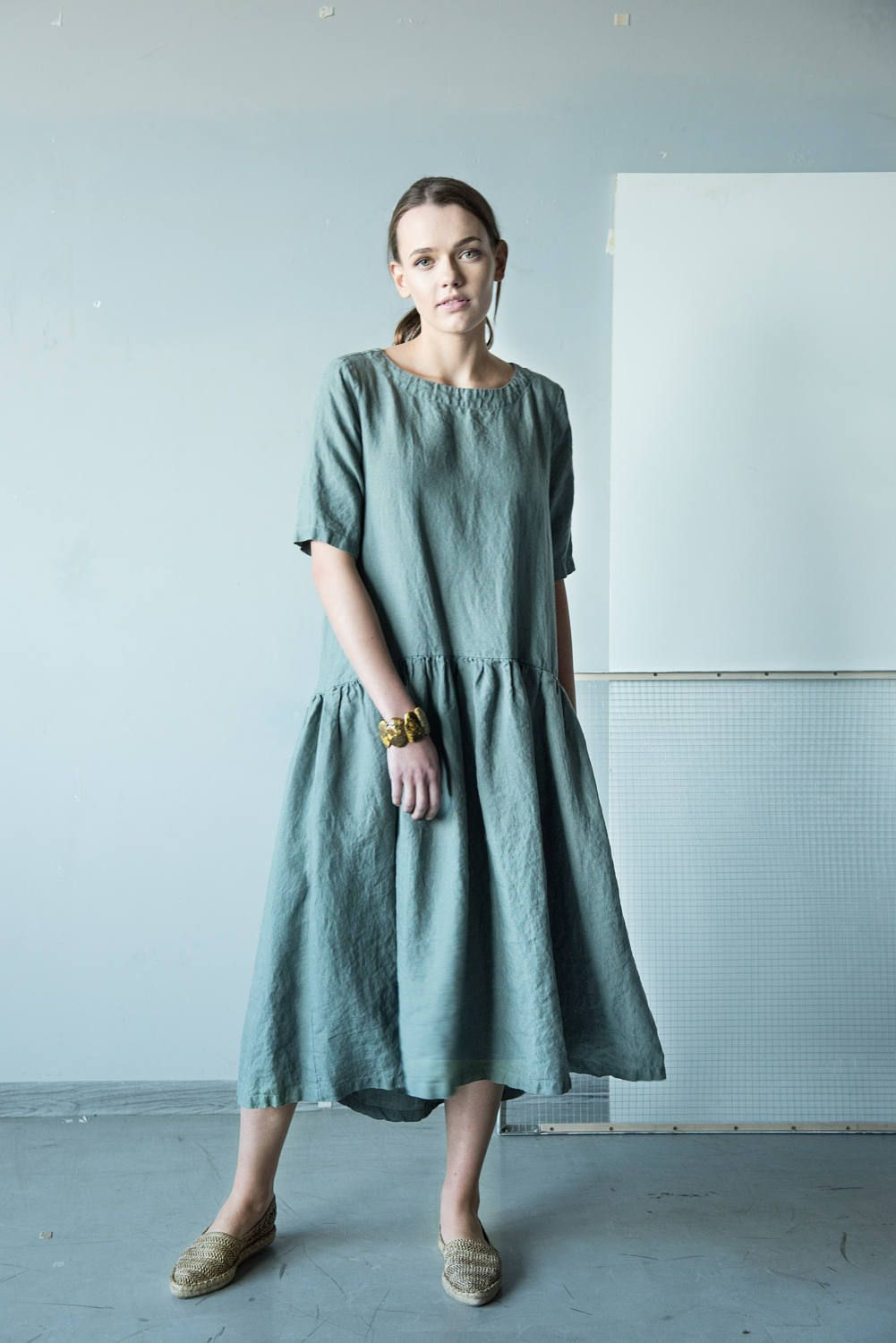 c637e163d2 NEW Loose fit pale green midi dress from Lithuanian linen with 2/4 ...