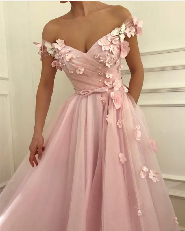 297ee780ad7 Gorgeous Flowers Beaded V-neck Off Shoulder Prom Dresses Long Tulle Evening  Gowns in 2019