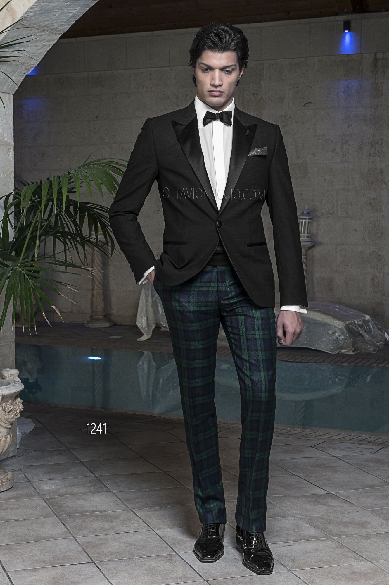 ONGala 1241 - Black Madras Plaid Wool Tuxedo with Jacket with ...