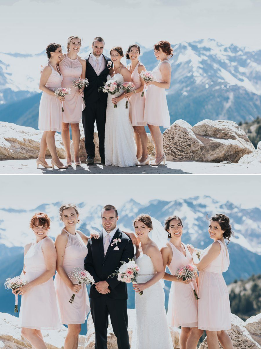 Kicking horse mountain wedding in golden bc bridal parties