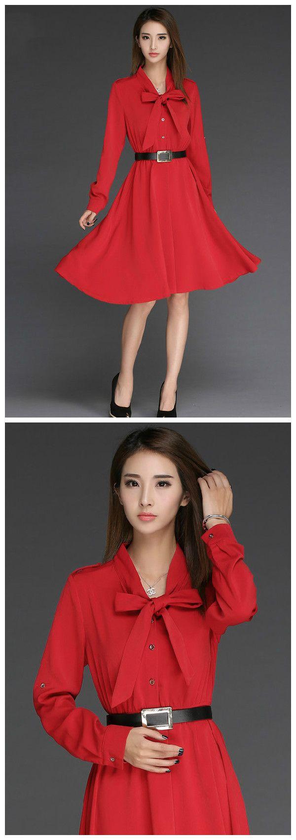 Korean new women long sleeve bow ball gown red chiffon dresses
