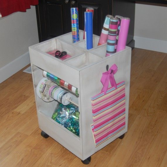 ribbon and gift wrap organizer | Wrapping Cart - wrapping paper ...